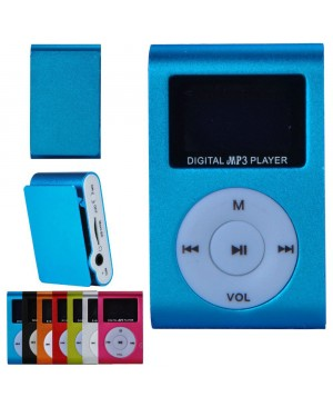 MP3 плеер SLIM Mini Metal Clip с дисплеем, синий